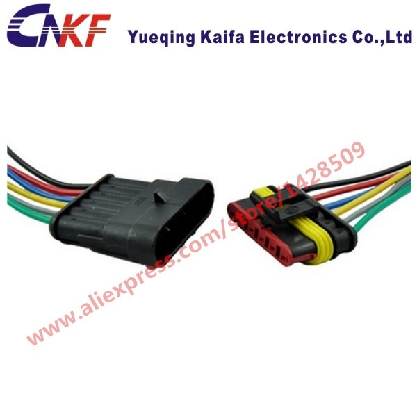 1 Set Tyco Amp 6 Pin Wiring Harness Kit Waterproof Automotive
