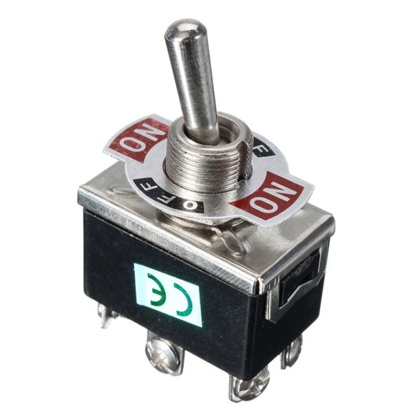 1 X Black 6 Pin 3 Terminal Toggle Spst On Off Switch 15a 250v Mini