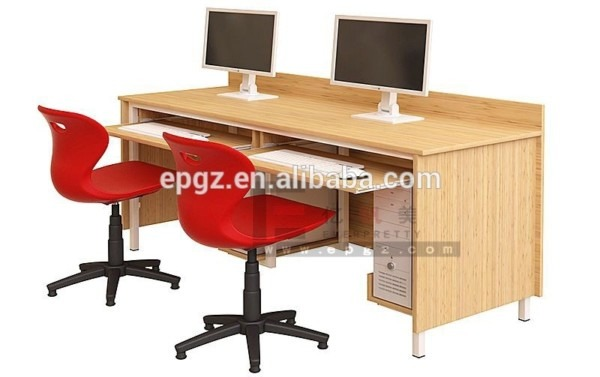 2 Seater School Hot Sale Wooden Cheap Computer Desk With Attached