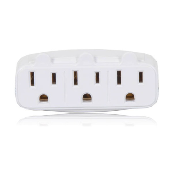 3 Grounded Multi Outlet Adaptor Wall Plug (4 Pack)