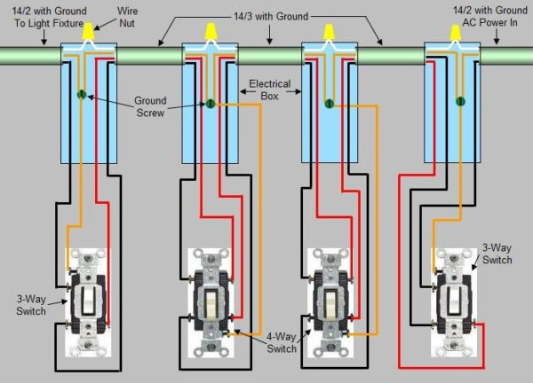 4 Way Switch Wiring Diagram Light Middle from www.chanish.org