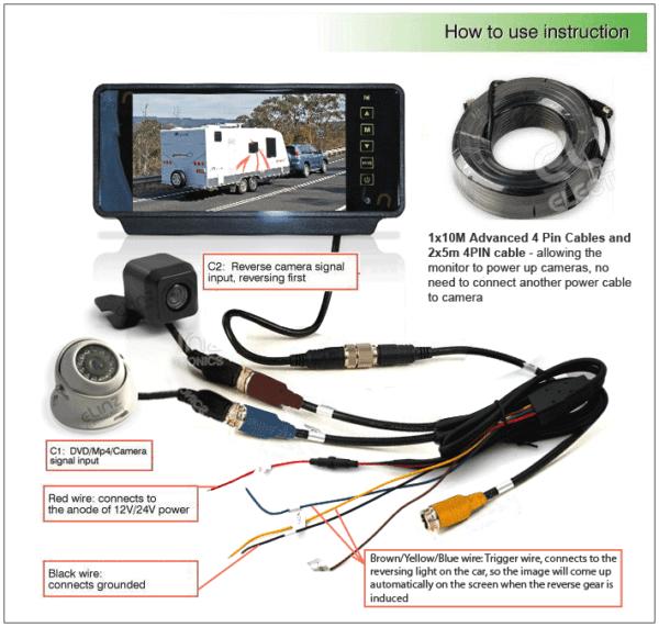 7  Rearview Monitor Caravan 2 Reversing Camera 4pin System Kit Ccd