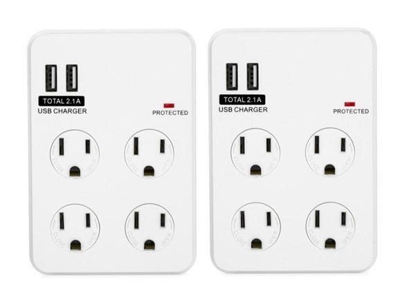 Bayoutech 4 Outlet Wall Plug W 2 Usb Ports