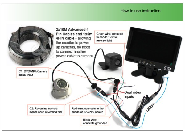 Caravan Two Camera 4pin System Trailer Cable 7  Monitor Hd 12v 24v
