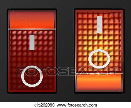 Clipart Of Red Light Electric Switch Vector Button K15262083