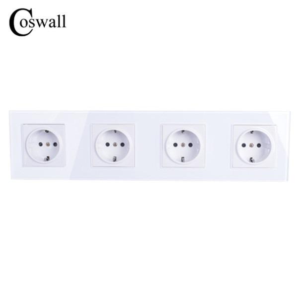 Coswall Wall Crystal Glass Panel 4 Way Power Socket Plug Grounded
