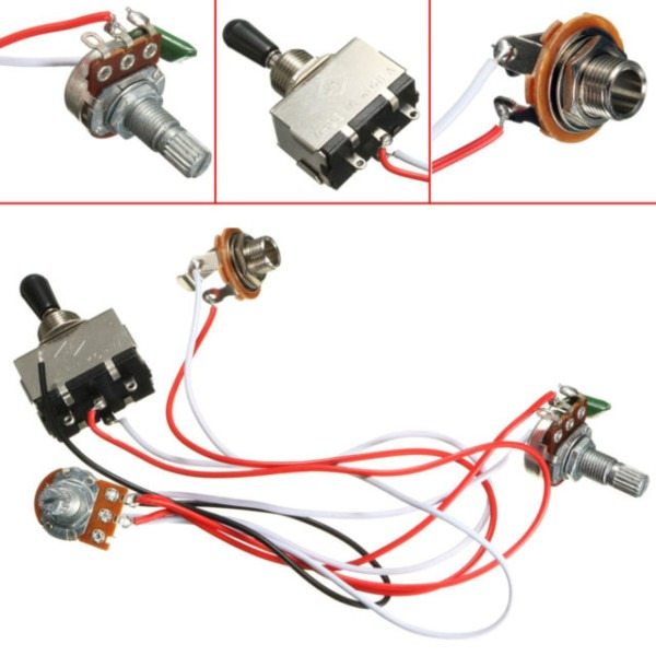 Electric Guitar Wiring Harness Kit 3 Way Toggle Switch 1 Volume 1