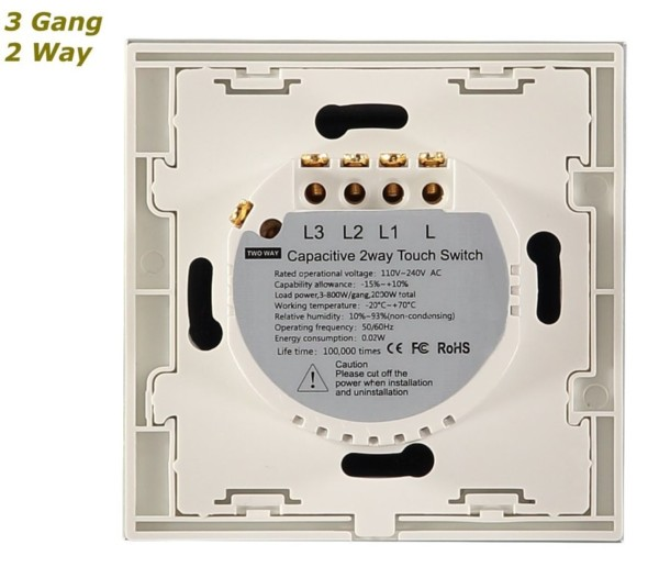 Glstouch White Glass Frame Touch Sensitive Panel Light Switch On