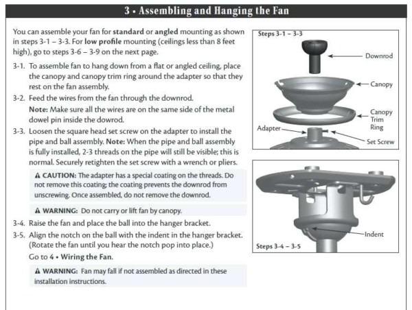 Hampton Bay Fan Installation Instructions Bay Ceiling Fan Support