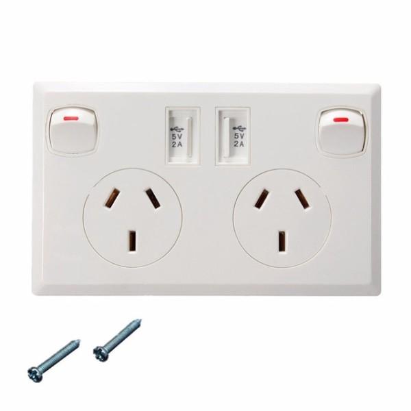 High Quality Universal Ac90 250v 10a Au Plug Dual Usb Ports 3