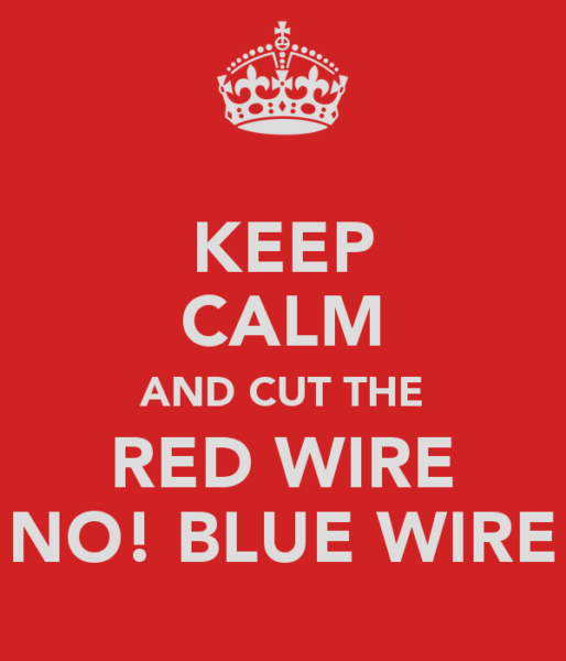 Keep Calm And Cut The Red Wire No! Blue Wire Poster