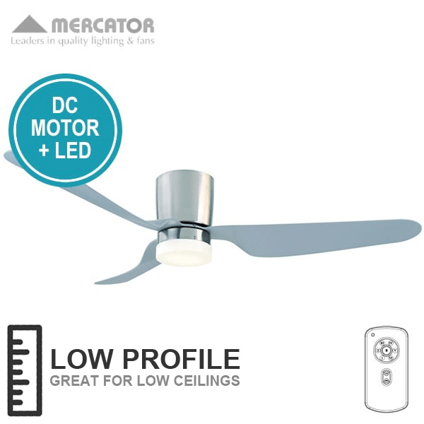 Mercator City Ceiling Fan With Led Light And Remote (low Profile