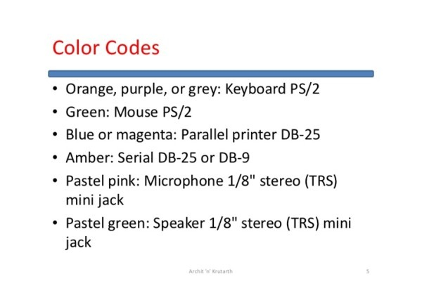 Ps2 Mouse Wire Color Code