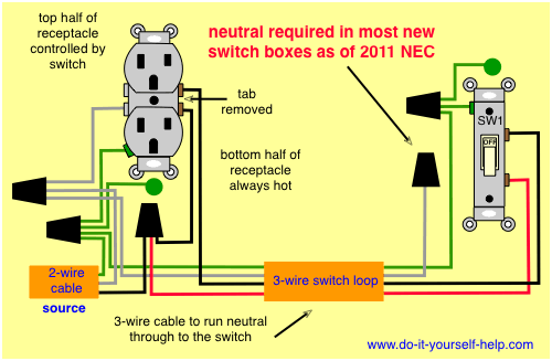 Diagram How To Wire A Switched Outlet Power To Receptacle