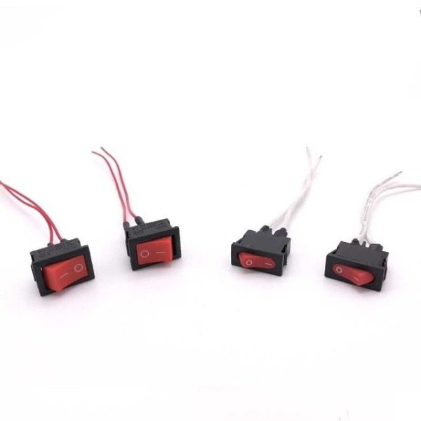 10pcs Rocker Switch Red Volt Kit Car 2 Pin Switch Wire 90mm With