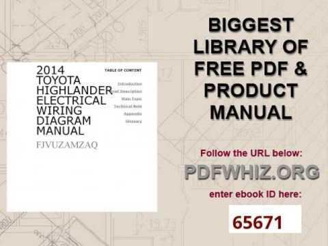 2014 Toyota Highlander Electrical Wiring Diagram Manual