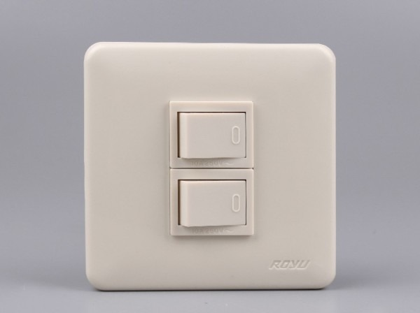 2 Gang 1way New Model Power Switch Use In House,250v White Beige