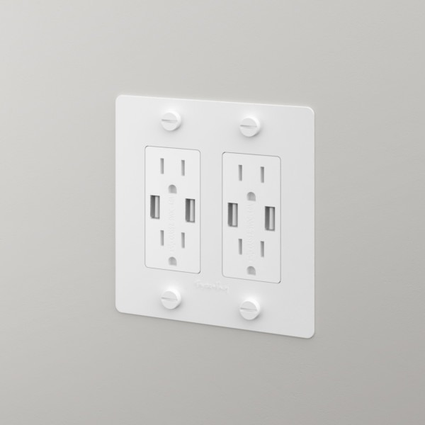 2g Combination Duplex Outlet And Usb Charger   White