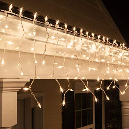 Amazon Com  Kringle Traditions 9 Ft 150 Clear Icicle Lights With