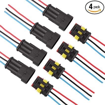 Amazon Com  Tomall 3 Pin Way 16 Awg Waterproof Connector For
