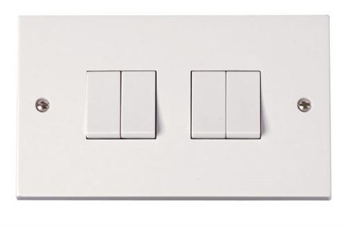 Click Polar 4 Gang 2 Way Light Switch [prw019]   Mas