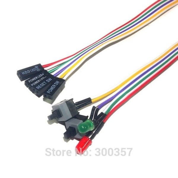 Desktop Computer Pc Case Power Cable Sw With Light Re Starting