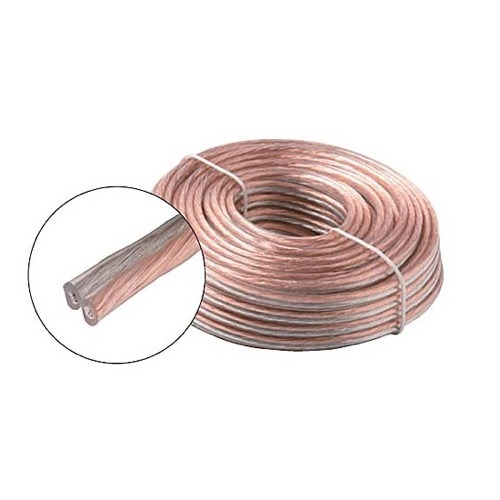 Eagle 50' Ft 18 Awg Ga Speaker Cable 2 Conductor Clear Coil Zip