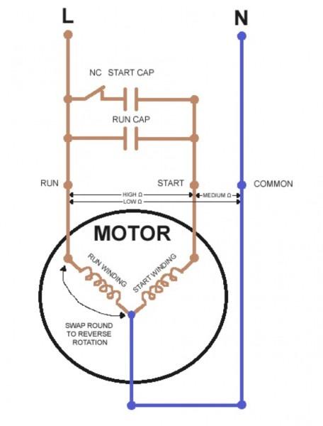 Electric Motor Single Phase Capacitor Wiring Diagram