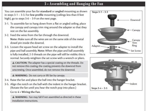 Hampton Bay Ceiling Fan User Manual on