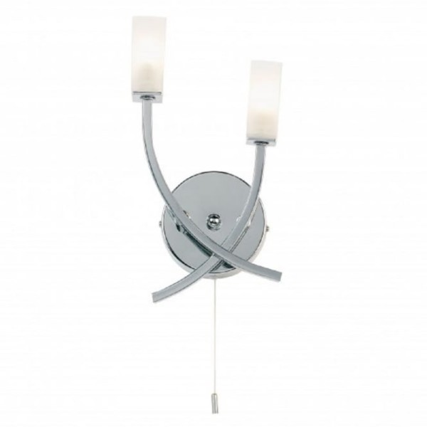 Modern Chrome Double Wall Light With Pull Cord Switch Within Idea