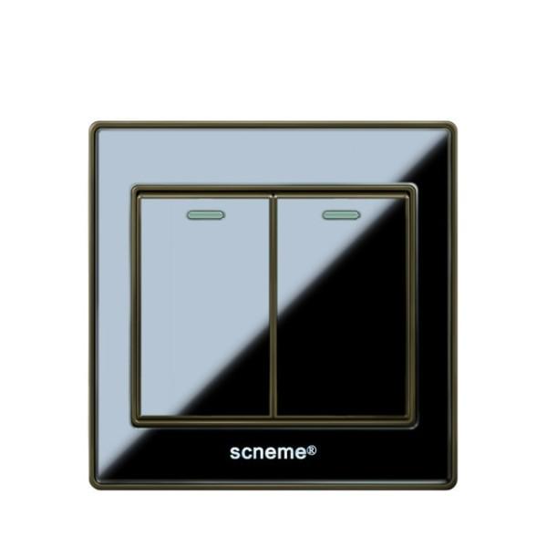 Uk Standard Wall Switch, 2 Gang 2 Way Light Switch And Ac110 250v
