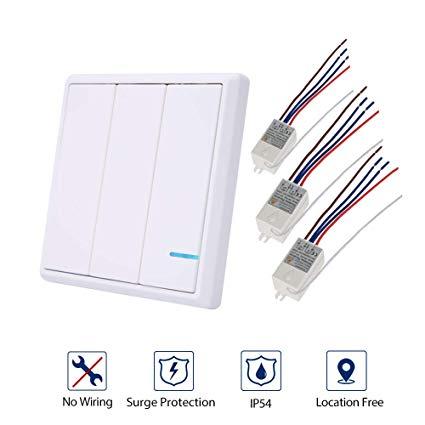 Wallpad Wireless Remote 3 Gang Wall Switch Kits, Install Anywhere