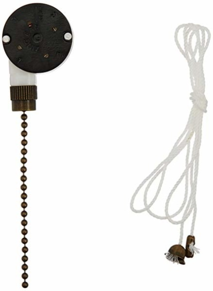 Westinghouse 3 Speed Fan Switch With Antique Brass Pull Chain