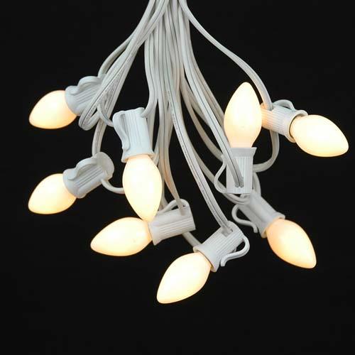 White Ceramic C7 Outdoor String Light Set On White Wire