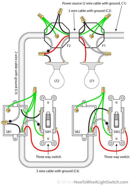 Wiring A 3 Way Switch With Two Lights Diagram