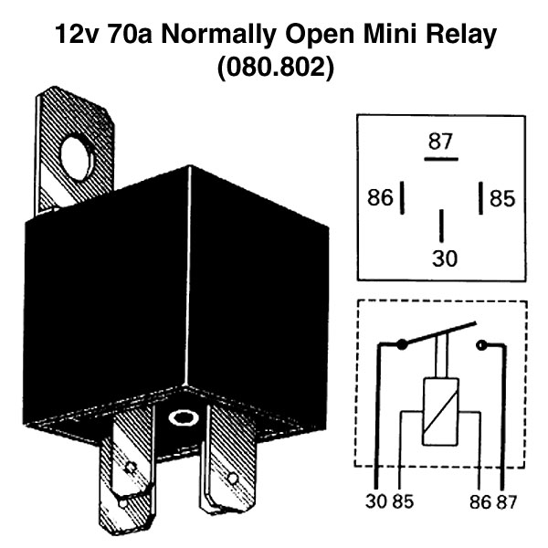 12v 70a Normally Open Mini Relay For Vintage & Classic Cars