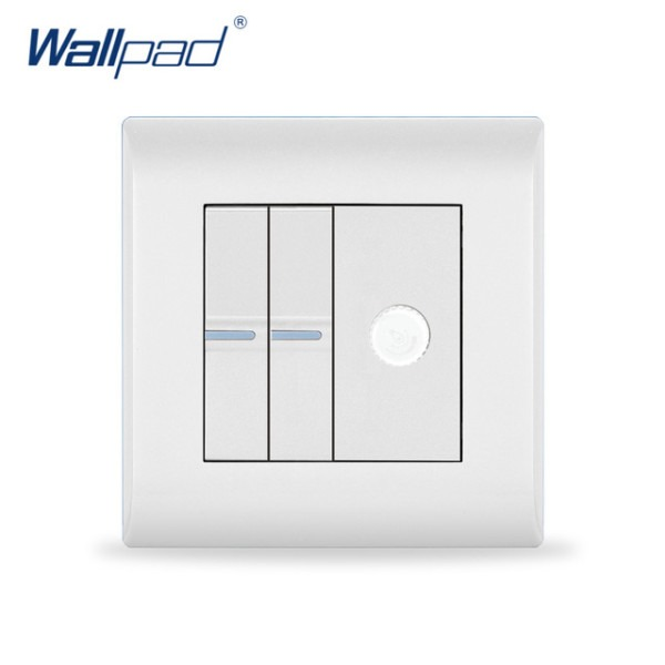 2018 New Arrival 2 Gang & Dimmer Switch Wallpad Luxury White Wall