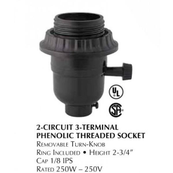 2 Circuit Threaded Phenolic Plastic E26 Medium Base Lamp Socket Lcd651