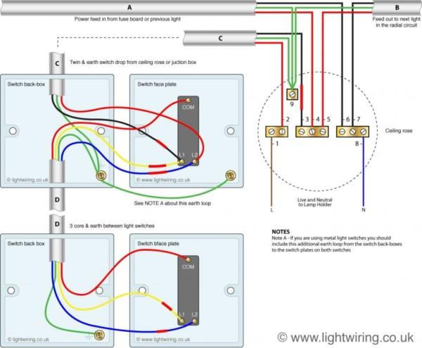 2 Way Light Switch Diagram Wiring Schematic