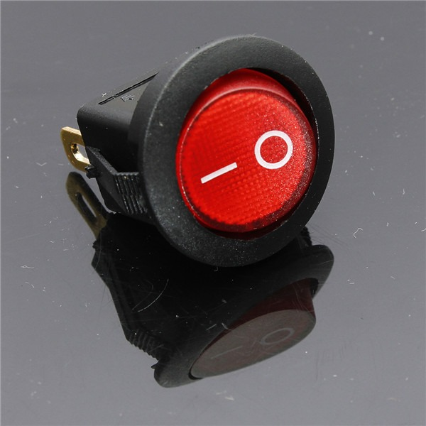 5x Small Red Rounded Rocker Switch With Red Led Indicator Light On