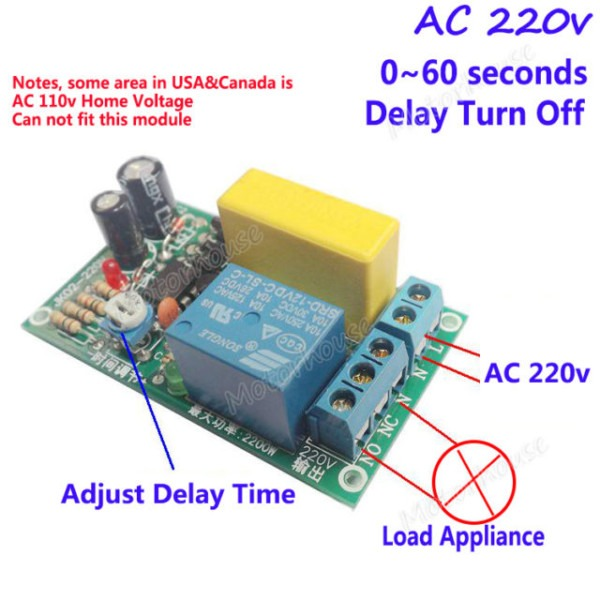Ac 220v 0 60s Delay Time Relay Switch Delay Turn Off Timer Module