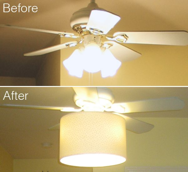 Add A Drum Shade To A Tacky Old Ceiling Fan To Hide The Dated