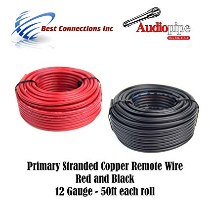 Amazon Com  12 Gauge Wire Red & Black Power Ground 50 Ft Each