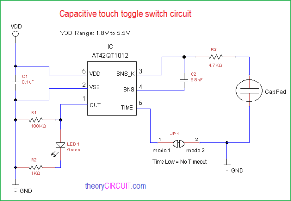 Capacitive Touch Toggle Switch Circuit