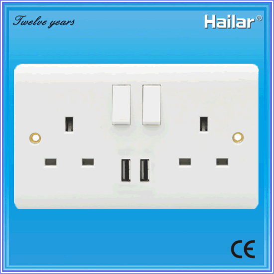 China 13a British Standard Switched Socket With Usb Two Gang Two