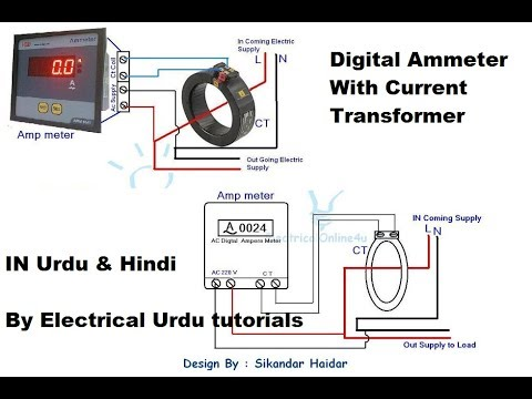 Digital Ammeter With Current Transformer Wiring For Single Phase