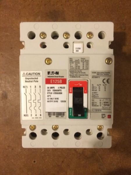 Eaton Cutler Hammer Egb4030ffg 4 Pole 30 Amp E125b Breaker