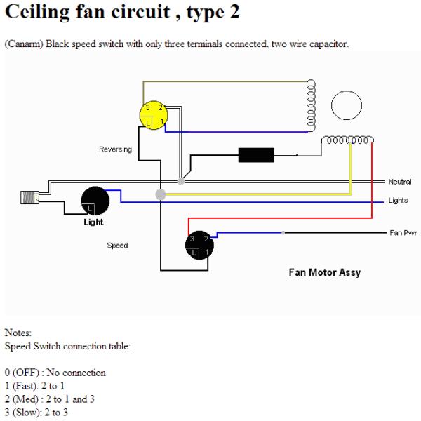 Ceiling Fan Speed Control Switch Wiring