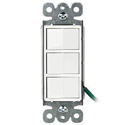 Enerlites Decorator Triple Paddle Switch, Residential Grade