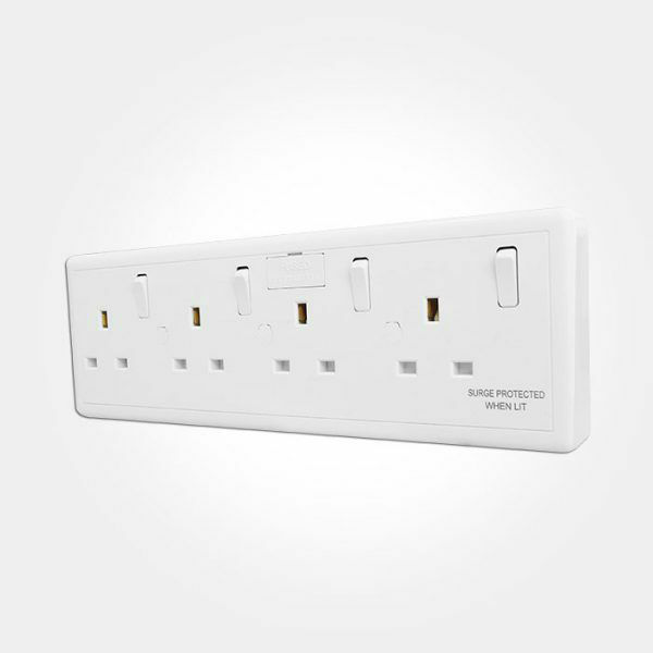 Eterna Convert4 Converter Plug Socket Outlet 1 Or 2 Gang To 4 Gang